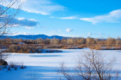 Frozen Lake on the Prairie Stock Photo