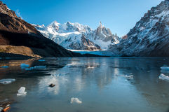 Frozen lake reflection at the Cerro Torre, Fitz Roy, Argentina Stock Image