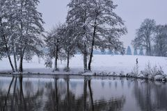 Frozen Lake Reflection in French Countryside during Christmas Season / Winter royalty free stock image