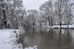 Frozen Lake Reflection in French Countryside during Christmas Season / Winter royalty free stock photo