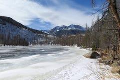 Frozen lake at Rocky Mountain National Park. A frozen Cub Lake at Rocky Mountain National outside of Estes Park, Colorado stock photography