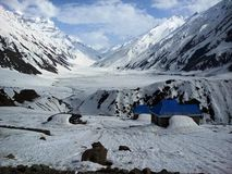 Frozen Lake Saif ul Malook with Blue Huts Stock Images