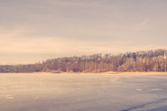 Frozen lake in Scandinavia Stock Photos