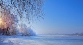 Frozen lake and snowy trees; Christmas winter Landscape. Art Frozen lake and snowy trees; Christmas winter Landscape stock photography