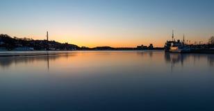 Frozen lake in Stockholm sunset stock photos