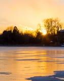 Frozen Lake at Sunset Royalty Free Stock Photo