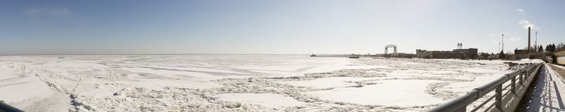 Frozen Lake Superior in Duluth, Minnesota. Shoreline of frozen Lake Superior in Duluth, Minnesota, USA in winter Stock Photo
