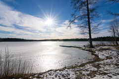 Frozen lake in Sweden Stock Photography