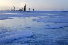 Frozen lake on Tundra Royalty Free Stock Photos
