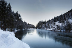 Frozen lake in the tyro lean alps Royalty Free Stock Photography