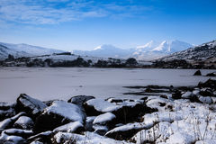 Frozen lake - and view to Snowdon. Winter white Snowy scenes around Snowdonia National Park North Wales UK Stock Photography