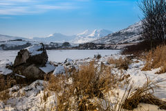 Frozen lake - and view to Snowdon. Winter white Snowy scenes around Snowdonia National Park North Wales UK Stock Photos