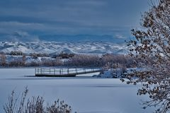 Frozen Lake in Western Colorado. Winter day on Christmas Eve. Highline Lake State Park in Western Colorado is fine for outdoor recreation and wildlife viewing royalty free stock images