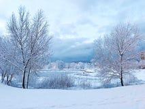 Frozen lake royalty free stock photography