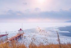 Frozen lake in winter,Lake Baykal, Russia royalty free stock photos