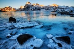 Frozen lake in the winter. In the arctic islands of Lofoten, Norway