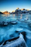Blue Frozen lake royalty free stock photos