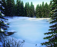 Frozen Lake Winter Backdrop Stock Photo