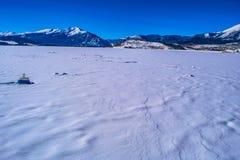Frozen Lake in Breckenridge, Colorado stock images