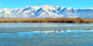 Frozen Lake. Winter capture of the frozen lake of Prespes in Greece Stock Photography