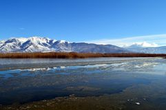 Frozen Lake. Winter capture of the frozen lake of Prespes in Greece Royalty Free Stock Photo