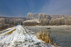 Frozen lake winter landscape in Croatia Stock Image