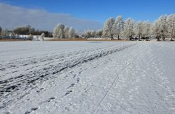 Frozen lake in winter, Mazury, Poland Stock Image