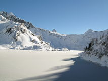 Frozen lake. In a winter mountain landscape Stock Photos