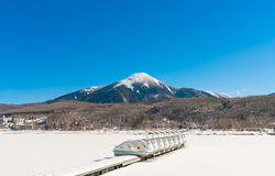 Frozen lake in the winter time. Stock Photography