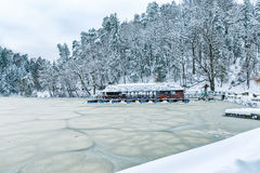 Frozen lake in Zagorje, Croatia Stock Photo