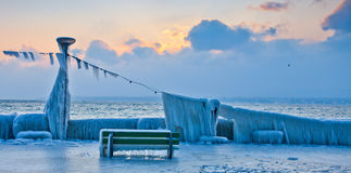 Frozen Lakefront. At Lake Geneva in town of Nyon, Switzerland during the extreme cold weather in Europe in February 2012 Stock Photography