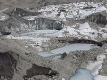 Frozen lakes and moraines on the Ngozumba Glacier Stock Image