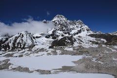 Frozen lakes on Ngozumba Glacier and Phari Lapcha Stock Images
