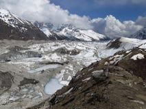Frozen lakes on the Ngozumba Glacier Royalty Free Stock Images
