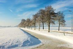 Frozen landcape. A sunny winter day in Dutch landscape Royalty Free Stock Photos