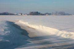 Frozen landcape. A sunny winter day in Dutch landscape Royalty Free Stock Image