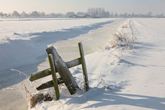 Frozen landcape with small gate. A sunny winter day in Dutch landscape Royalty Free Stock Image