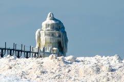 Frozen landmark in michigan Stock Images