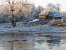 Frozen landscape 4. Coast of the small river during a strong frost Stock Image