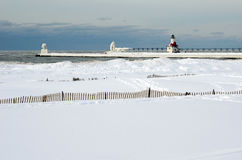 Frozen lighthouse  landscape on lake michigan Royalty Free Stock Photos