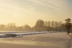 Frozen landscape at sunset Royalty Free Stock Photo