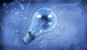 Frozen light. Bulb in blue ice Stock Photography