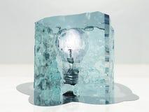Frozen. Light bulb frozen in ice Stock Images