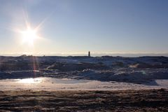 Frozen lighthouse Royalty Free Stock Photo