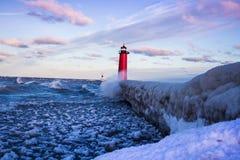 Frozen Lighthouse Stock Photos