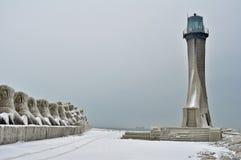 Frozen lighthouse landscape Stock Photography