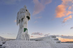 Frozen lighthouse on Rugen. A lighthouse covered in frost on the Rügen island in Sassnitz, Germany Stock Image