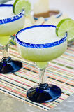 Frozen Lime Margaritas. Mexican restaurant styled frozen margaritas Royalty Free Stock Photo