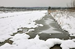 Frozen little river Royalty Free Stock Photography