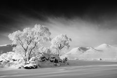 Frozen loch, Black mount Stock Photo